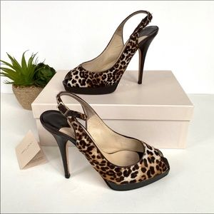 Jimmy choo leopard print peep toe heels 7 7.5